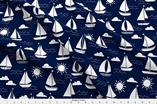 Poplin Cape (Sailboat Fabric Sailboats // Navy And White Nautical Summer Ocean Cape Cod Seamless Summer Print by Andrea Lauren Printed on Cotton Poplin Ultra Fabric by the Yard by Spoonflower)
