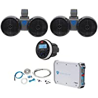 2) Rockville Dual 6.5 600w Wakeboard Tower Speakers+2-Ch Amp+Bluetooth Receiver