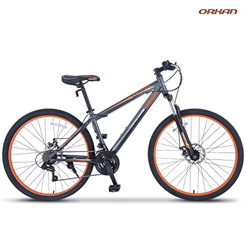 ORKAN 27.5' MTB Shimano Hybrid 21 Speed Mountain Bike Mountain Bike Grey & Orange