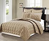 Mk Collection 3 Pc King/California King Target Over Size 118'' x 106'' Bedspread Bed-cover Quilted Embroidery Modern Geometric Solid Taupe New