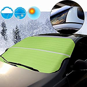 Super PDR vehicle windshield covers for ALL automobiles all weather waterproof Snow frost sun Windscreen Cover Heat Guard Non-slip Multi-used as Outdoors Picnic Mats, Yoga Mat 78.7 x 37.4 in (Green)
