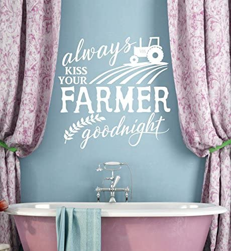 Always Kiss Your Farmer Goodnight Wall Vinyl Decals Lettering Sticker Master Bedroom Decor Quote 23 X 23 White Amazon Com
