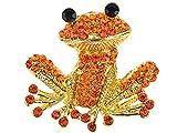 Alilang Fiery Orange Red Happy Crystal Rhinestones Golden Tone Smiling Frog Pin Brooch