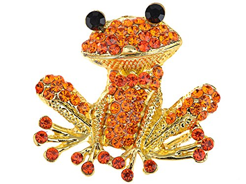 - Alilang Fiery Orange Red Happy Crystal Rhinestones Golden Tone Smiling Frog Pin Brooch