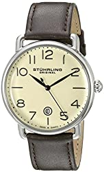Stuhrling Original Men's 695.02 Symphony Swiss Quartz Date Brown Leather Strap Watch