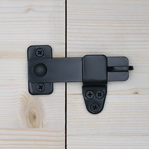 Nordstrand Sliding Barn Door Lock - Rustic Gate Latch for Cabinet Bar Closet Shed Cabin Garage - Black Wrought Cast Iron - Flip & Pull Hook Hardware Kit - Interior & Exterior Use