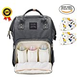 BRIGHTSHOW Diapers Backpack Bag Multi-Function Waterproof Travel Backpack Nappy Bags with 2pcs Bibs for Baby Care, Large Capacity, Stylish and Durable (Grey)