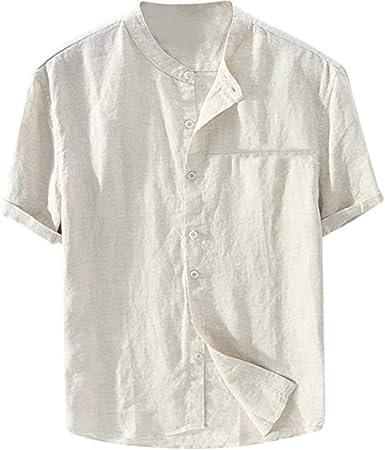 KaAlin - Camisa de manga corta para hombre (algodón y lino, transpirable, cuello alto, para playa, informal): Amazon.es: Ropa y accesorios