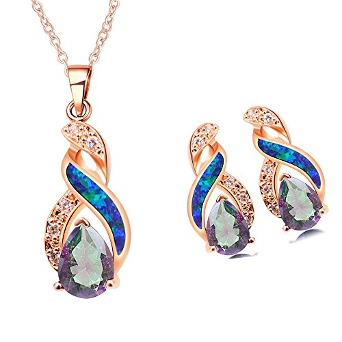 Opal White Fire Pendant - Sinlifu Rainbow Mystic Topaz Earrings Fire Blue White Opal With Fire Blue White Opal Design (Rose gold sets: Blue opal & Mystic topaz)