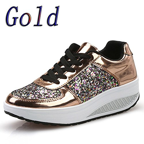 Women's Wedges Sport Sneakers Athletic Lightweight 2019 Classic Sneakers Refined Thick Bottom Sport Shoes (US:7, ()