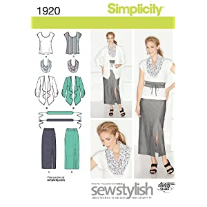 Simplicity Sew Stylish Pattern 1920 Misses Skirt, Top, Jacket, Scarf and Belt Sizes 10-12-14-16-18