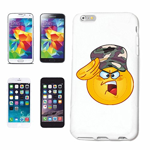 "cas de téléphone iPhone 6S ""SMILEY dans l'armée ""sourire EMOTICON APP de SMILEYS SMILIES ANDROID IPHONE EMOTICONS IOS"" Hard Case Cover Téléphone Covers Smart Cover pour Apple iPhone en blanc"