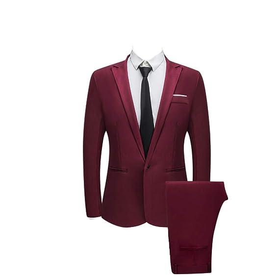 Xmiral Veste Costume Homme Manteau Pantalon Manchon d émission Minces  Bouton (M 46867cfeae8