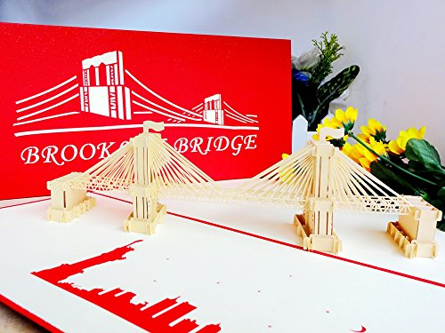 The Brooklyn Bridge 3D Pop Up Cards Anniversary Baby Birthday Easter Halloween Mother's Day New Home New Year's Thanksgiving Valentine's Day Wedding Christmas Cards ()