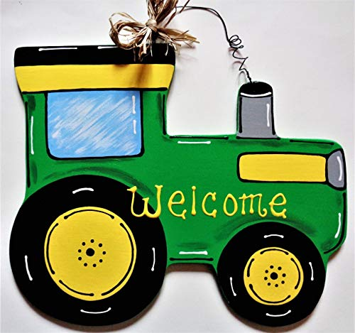 Welcome Green Farm Tractor Sign Wall Art Door Hanger Plaque Country Wood Decor Home Decor tokomillcrafty
