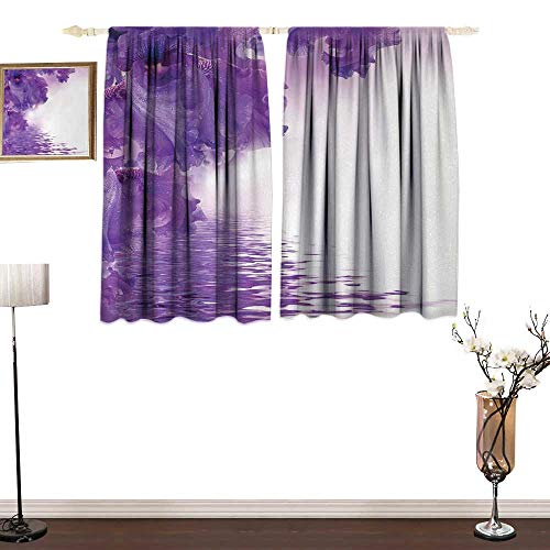 Genhequnan Flower, Blackout Window Curtain 2 Panel, Iris Flowers Petals Against The Water River Mystical Magical Fairy Nature Image, for Living Room, W55 x L72 Inches, Violet White