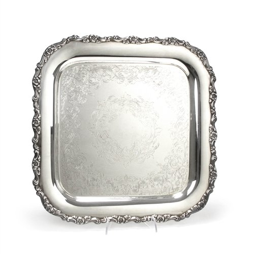 Serving Tray, Chased Bottom by Oneida, Silverplate Square Shaped