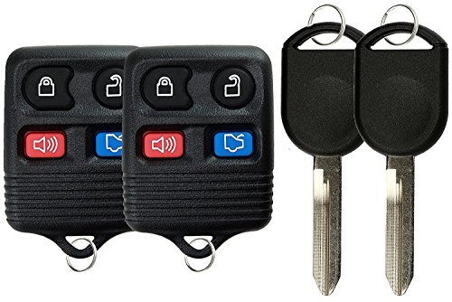 KeylessOption Keyless Entry Remote Control Fob Uncut Blank Car Ignition Key For CWTWB1U345, GQ43VT11T (Pack of 2)