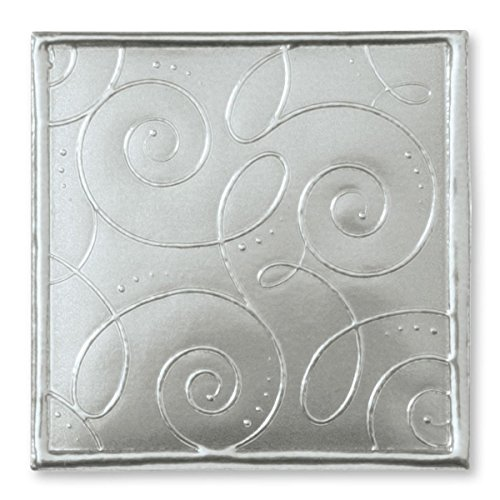 Fancy Swirls Embossed Square Silver Foil Seals, 32 Count