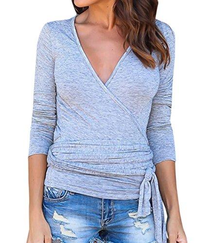 T avec Hauts Col Shirt Mode Chemisiers Femmes Tee Blouses Longues Gris Slim Bandage Manches Tops Printemps Jumpers Automne V tE6qzzw
