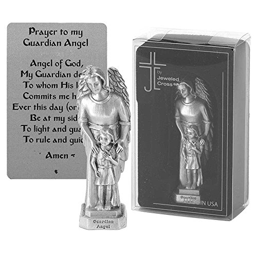 Girl Prayer to My Guardian Angel 3.5 x 2 inch Pewter Cast Table Top Figurine