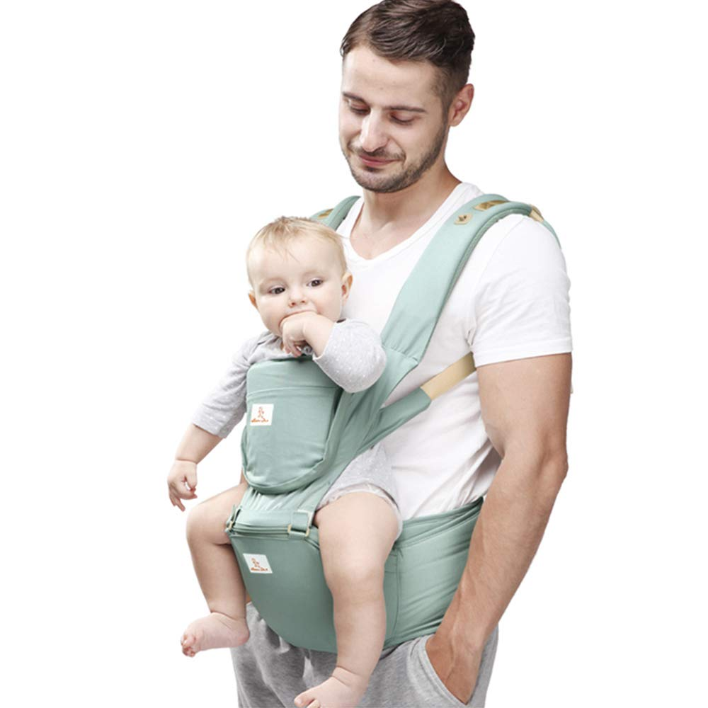 0-36 Months 3in1 Baby Sling Front Back Ergonomic Soft Baby Carrier Backpack with Non-Slip Hip Seat Detachable Breathable Door for All Season Baby Carrier Bibs Head Hood