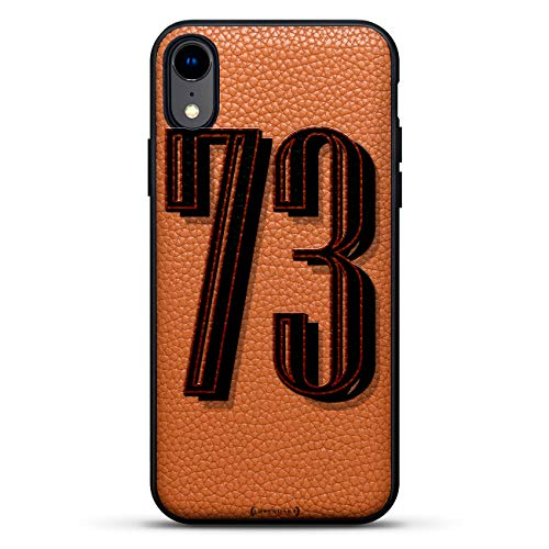 Numbers: Number 73 in Bold Modern Font | Luxendary Leather Series Slim Edition Case w/Genuine Leather Back & 3D Printed Design for iPhone XR (6.1