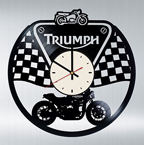 (Triumph Motorcycle Vinyl Wall Clock Motorbike Unique Gifts Living Room Home Decor)
