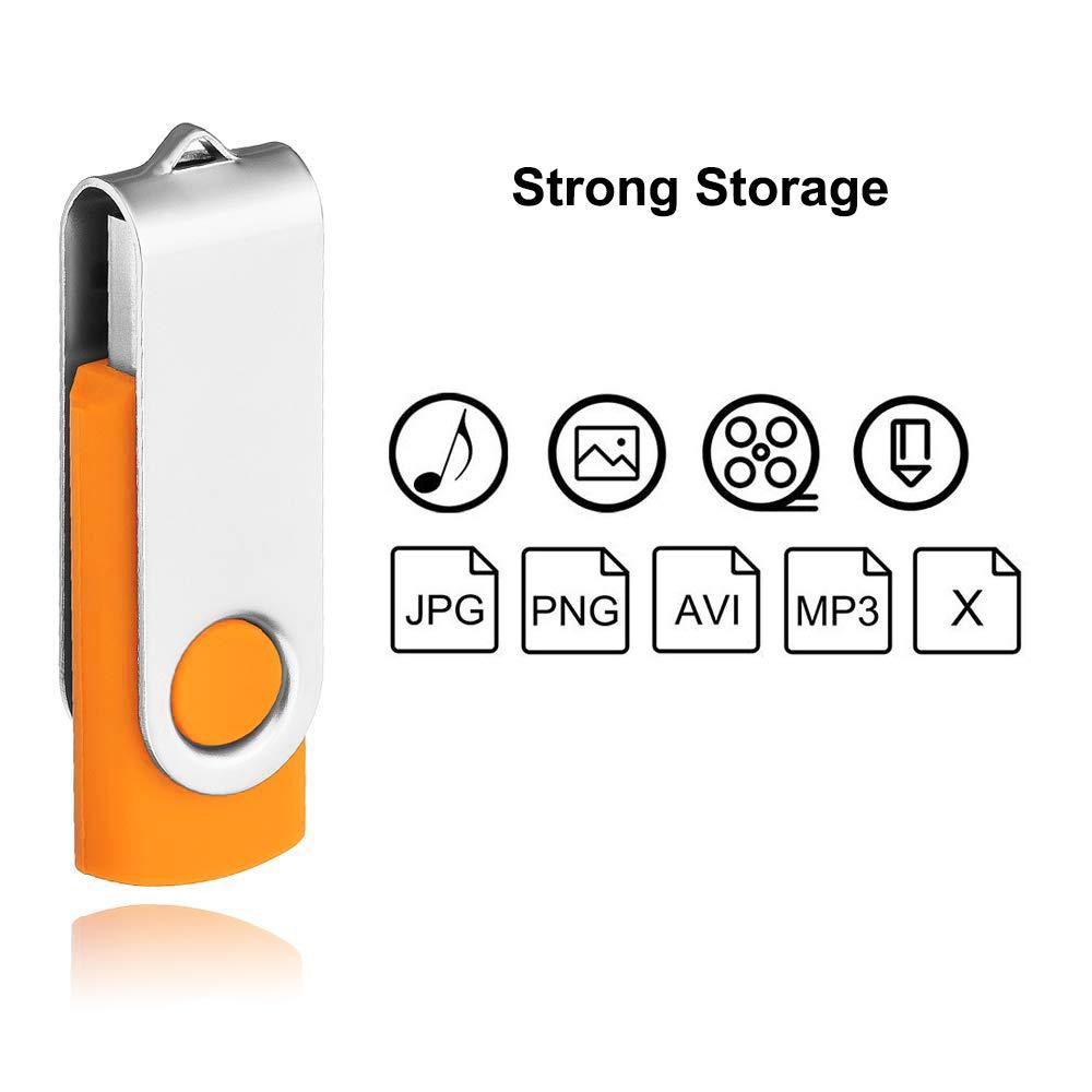Lot de 10 Cl/é USB 16 Go Flash Drive USB 2.0 Stockage M/émoire Stick Multicouleurs Rotation Disque Haute Vitesse pour Ordinateur T/él/évsion