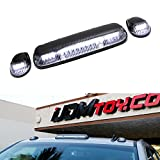 chevy oem cab lights - iJDMTOY 3pc-Set Clear/Black Cab Roof Top Marker Running Lamps w/ White LED Lights For Chevrolet Silverado or GMC Sierra 1500 2500HD 3500HD (Also Fit Other Trucks SUVs)