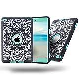 TKOOFN 3 in 1 Protective Case Cover for Apple iPad mini 4 Shockproof Mint-Green Flower Pattern Mint Green Elephant Pattern