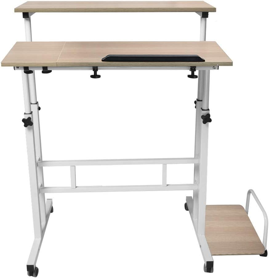 Fewear Ship from USA,Stand Up Desk Adjustable, Raised and Lowered Folding,Mobile Computer Desks with Keyboard Tray,Computer Desk, Home Office Desk, Computer Workstation, Study Writing Desk