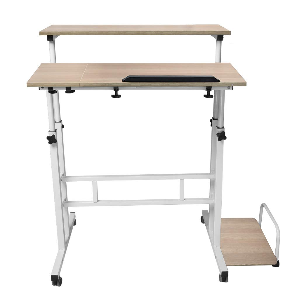 Adjustable Mobile Table, Foldable Can Be Raised Folding Home Office Wheel with Workstation Computer Standing and Seating Desk (Yellow)