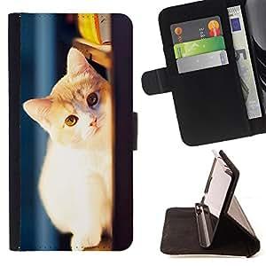 - Cat Cute Kitty - - Monedero pared Design Premium cuero del tir?n magn?tico delgado del caso de la cubierta pata de ca FOR Samsung Galaxy A3 Funny House