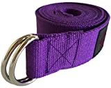 Clever Yoga 8-Foot Yoga Strap Made With The Best, Durable Cotton - Comes With Our Special Namaste (Purple)