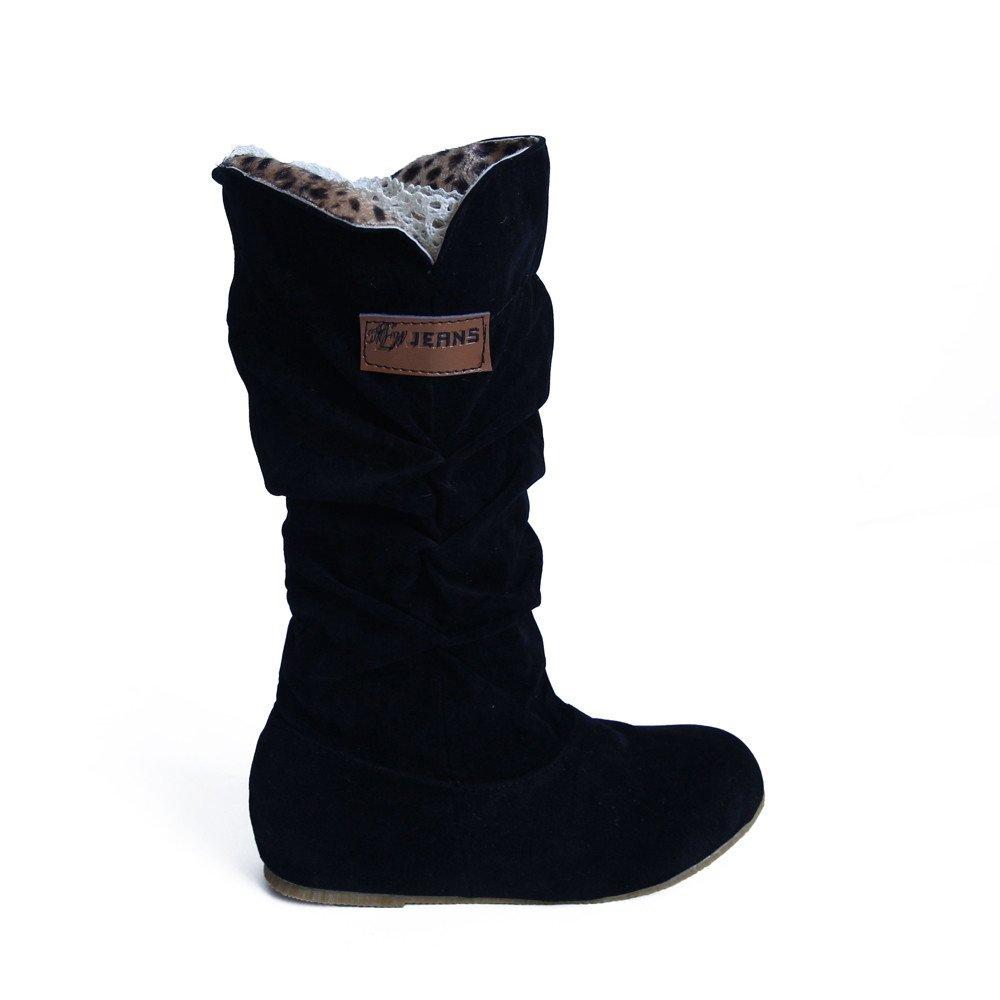 Oyedens Stivali Scarpe Donna Invernale Scarpe da Corsa Sportive Sneakers Scarpe da Ginnastica Scarpe Stringate Donna Inverno Caldo Outdoor Zip Knee High Flat Heel Boots Shoes Natale Clearance Sale