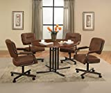 Impacterra WM54019047437+HV16019629 5 Piece Waimea Dining Set with 474 Wood Top and Haverfordwest Caster Chair, Brown