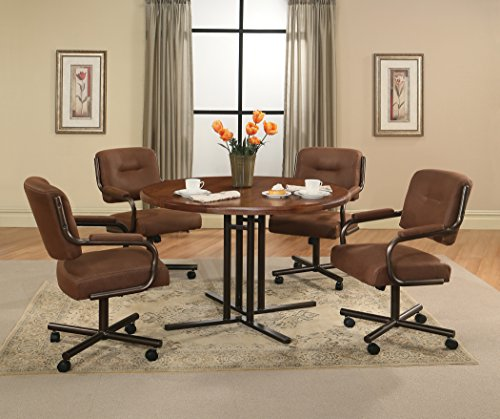 Impacterra WM54019047437+HV16019629 5 Piece Waimea Dining Set with 474 Wood Top and Haverfordwest Caster Chair, Brown by Impacterra