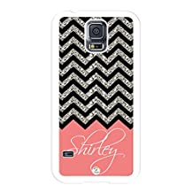 iZERCASE Samsung Galaxy S5 Case Personalized Coral Chevron Pattern (NOT ACTUAL GLITTER) RUBBER CASE - Fits Samsung Galaxy S5 T-Mobile, Sprint, Verizon and International (White)