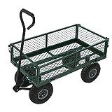 Oypla Heavy Duty Metal Gardening Trolley - Green Trailer Cart