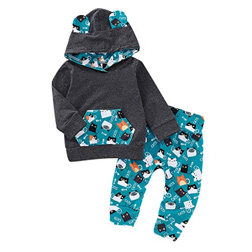 Infant Toddler Baby Boys Clothes Cartoon Cat Clothing Sets Pocket Hoodie+Pants Winter Fall Funny Outfit (Dark Gray, 0-6 Months)