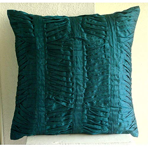 Pillow Covers Decorative 18x18 Green, Royal Peacock Green Pillow Cases, Textured Pintucks Solid Color Decorative Pillows Cover, Square Silk Pillowcase, Modern Throw Pillows Cover - Royal Peacock Green