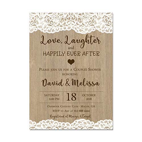 Couples Wedding Shower Invitation, Lace and Wood, Love and Laughter and Happily Ever After, Base price is for a Set of 10 Invitations with white envelopes