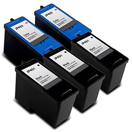 Purpplex Remanufactured Ink Cartridge Replacement for Dell [Series 5] M4640 Black and M4646 Color Ink Cartridge for 922 924 944 946 962 964 Inkjet Printer ( 3 Black - 2 Color )