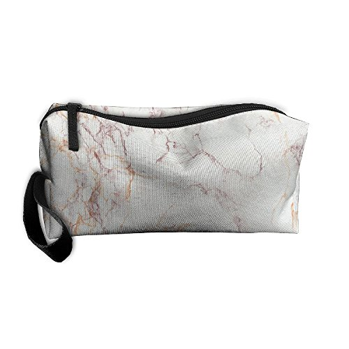 Calico Marble (Brown Marble Grey Oxford Cloth Portable Girl Women Travel Storage Bags Feature Calico Receiving Bag Wallets Purse Zipper Stationery Kits Makeup Bags Multi-function Bag)