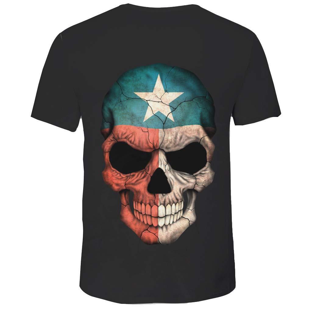 MEIbax Camisetas para Hombre de algod/ón de Manga Corta con Personalidad Calavera Pintada Impresi/ón Estampado con Cuello Redondo Causal Talla Grande Oversize Camisa Blusa riou Tops Deportiva T-Shirt