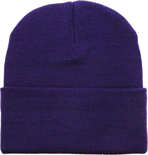 SKIHAT-Long PUR Thick Beanie Skully Slouchy & Cuff Winter Hat Made in USA Purple - Purple Beanie Long