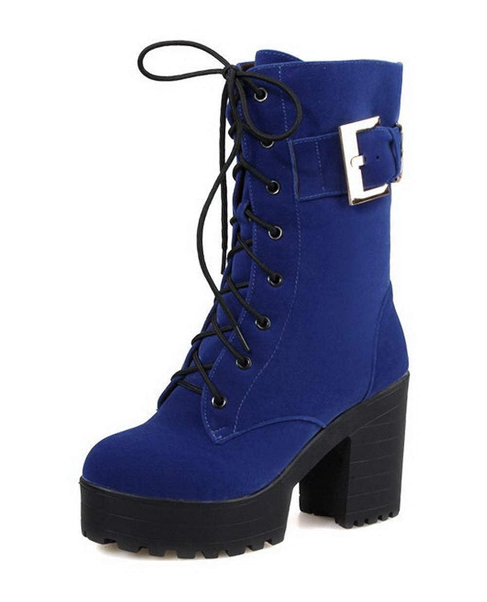 AalarDom Womens Low-Top Zipper Imitated Suede High-Heels Round-Toe Boots TSDXG038403