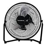 Homebasix VF-9N High Velocity Fan With Four Rubber Foot Pads, Aluminum Blade (3 Blades), Black