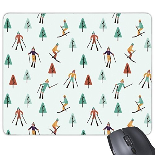 (JINGB Winter Sport Skiing Skis Boots and Ski Pole Pine Tree Cartoon Style Illustration Rectangle Non-Slip Rubber Mousepad Game Mouse Pad)